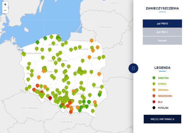 Stężenie pyłu PM10 o godz.10.30 (tvnmeteo.pl za GIOŚ)