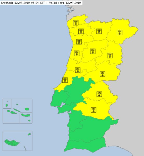 Ostrzeżenia meteorologiczne dla Portugalii na piątek (meteoalarm.eu)
