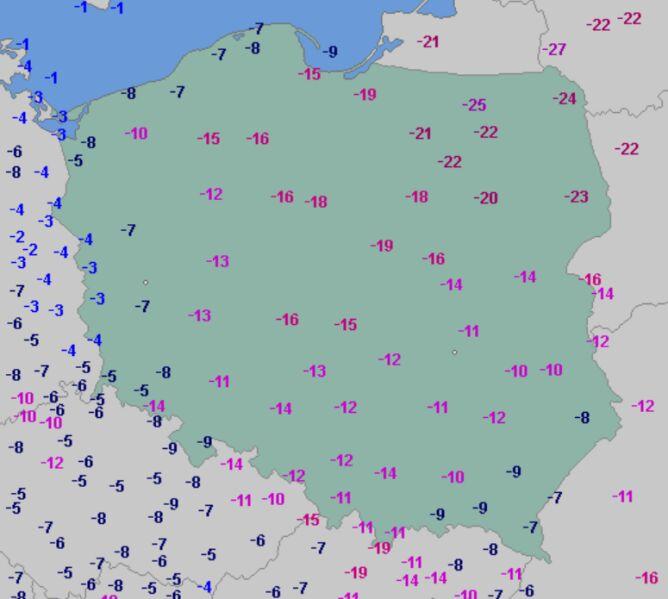 Temperatura minimalna 17 stycznia (wetteronline.de)