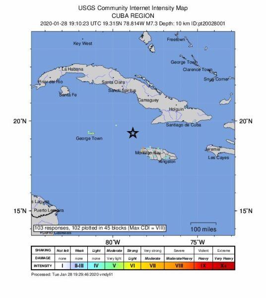 Lokalizacja trzęsienie ziemi (USGS)
