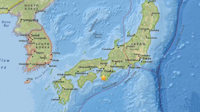 W Japonii zatrzęsła się ziemia.<br /> Obszar podwyższonego ryzyka