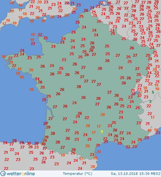Temperatura powietrza na wysokości dwóch metrów we Francji o godzinie 15.30 (wetteronline.de)