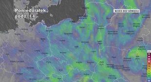 Prognozowane opady na kolejne dni (Ventusky.com)