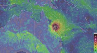 Prognozowane porywy wiatru w Australii (Ventusky.com)